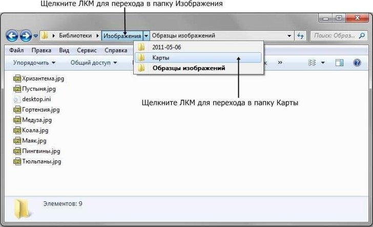 Навигация в проводнике Windows 7