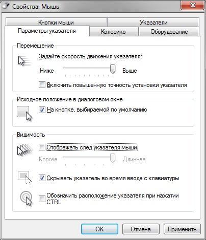 параметры указателя мыши