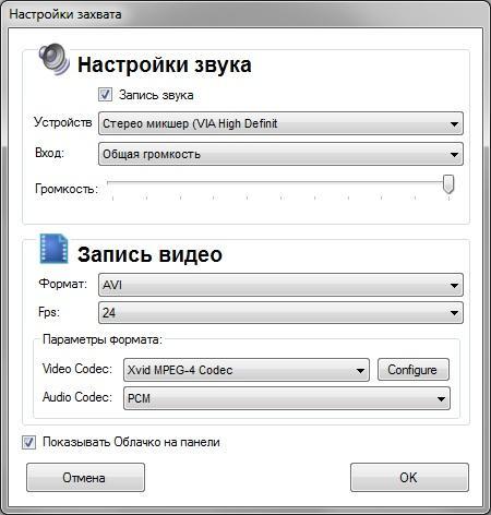 настройка программы для записи видео с экрана Free Screen To Video