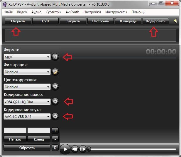 Кодирование видео программой XviD4PSP